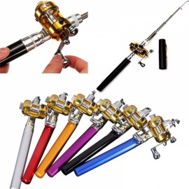 Mini Pocket Pen Shaped Aluminum Alloy Fishing Rod Pole with Fishing Reel 1m Black