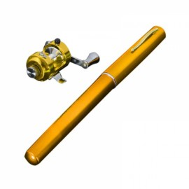 Mini Pocket Pen Shaped Aluminum Alloy Fishing Rod Pole with Fishing Reel 1m Golden
