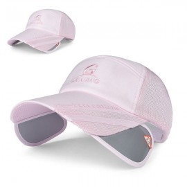 Outdoor Fishing Unisex Polyester Mesh Wide Brim Baseball Cap with Retractable Lens Pink