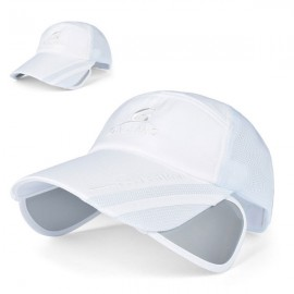 Outdoor Fishing Unisex Polyester Mesh Wide Brim Baseball Cap with Retractable Lens White