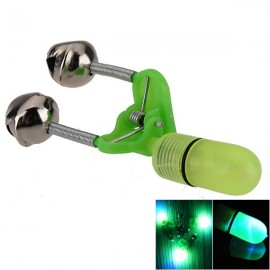 Cute Fishing Rod Tip LED Red Light Fishing Alarm with 2 Bells Yellow & Green