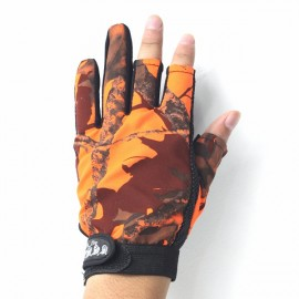 Anti Slip Outdoor Fishing Gloves 3 Fingers Naked Gloves for Men Orange