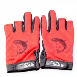 Anti-slip Waterproof Fishing Gloves Night Fishing Special Gloves Red