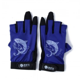 Anti-slip Waterproof Fishing Gloves Night Fishing Special Gloves Blue