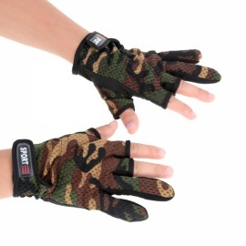 Anti-Slip Breathable 3 Low-Cut Fingers Hunting Gloves Fishing Gloves Camouflage