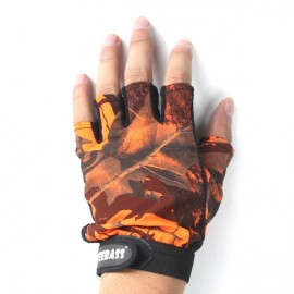 Anti Slip Outdoor Fishing Gloves 5 Fingers Naked Gloves for Men Orange
