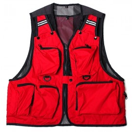 Multi Pockets Fishing Hunting Mesh Vest Mens Outdoor Leisure Jacket Red XL