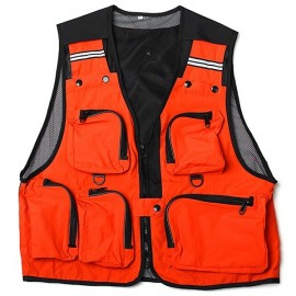Multi Pockets Fishing Hunting Mesh Vest Mens Outdoor Leisure Jacket Orange L
