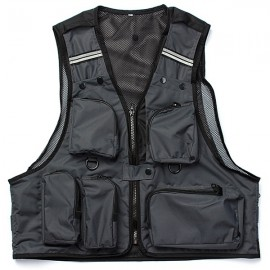 Multi Pockets Fishing Hunting Mesh Vest Mens Outdoor Leisure Jacket Black L
