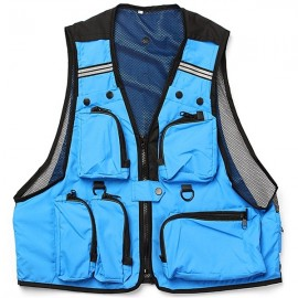 Multi Pockets Fishing Hunting Mesh Vest Mens Outdoor Leisure Jacket Blue L