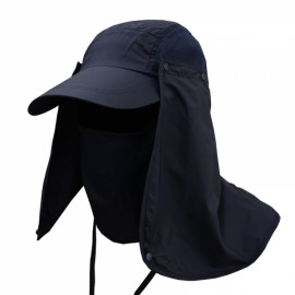 Quick Dry Neck Cover Sun Fishing Hat Ear Flap Bucket Outdoor Dark Blue