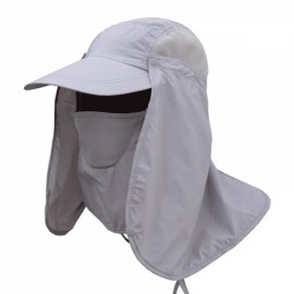 Quick Dry Neck Cover Sun Fishing Hat Ear Flap Bucket Outdoor Light Gray