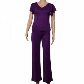 Modal Falbala Short-sleeve Yoga Clohting Suit Size XL Purple