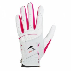 TOURLOGIC Women's Full Finger Goat Skin + PU Leather Golf Gloves White & Red