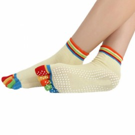 Yoga Five-toes Anti-slip Granules Practice Cotton Socks Beige