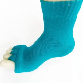 Yoga GYM Massage Open Five Toes Separator Socks Foot Alignment Pain Relief Sky Blue
