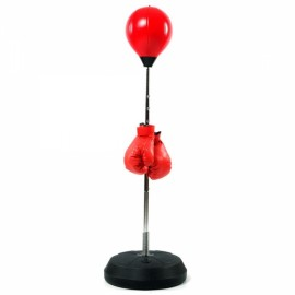 Adult Fitness Boxing Pear Sports Punching Bag with Pump & Gloves Red