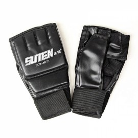 SUTEN Upscale Boxing Gloves Training Equipment Half Finger Mitts Black & White Word