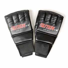 SUTEN Upscale Boxing Gloves Training Equipment Half Finger Mitts Black & Red Word