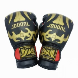 PU Leather Breathable Boxing Gloves for Muay Thai Training Taekwondo Punching Competition Black