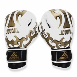 PU Leather Breathable Boxing Gloves for Muay Thai Training Taekwondo Punching Competition White