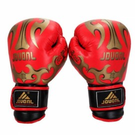 PU Leather Breathable Boxing Gloves for Muay Thai Training Taekwondo Punching Competition Red