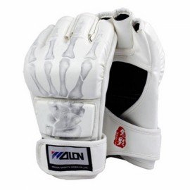 WOLON Thai Kick Boxing Gloves Half-finger Fighting Boxing Gloves White