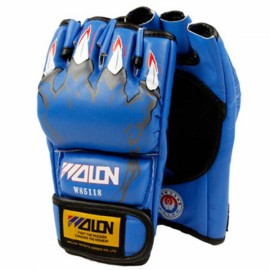 WOLON Thai Kick Boxing Gloves Tiger Paws Pattern Half-finger Fighting Boxing Gloves Blue