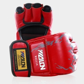 WOLON Thai Kick Boxing Gloves Tiger Paws Pattern Half-finger Fighting Boxing Gloves Red