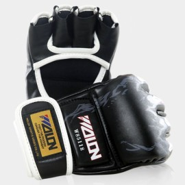 WOLON Thai Kick Boxing Gloves Tiger Paws Pattern Half-finger Fighting Boxing Gloves Black