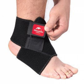 Naturehike Sports Ankle Brace Adjustable Sprain Wrap Support Protector for Football Running Black Size L