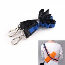 Bandolier Toy Gun Soft Bullets Belt Metal Buckle Shoulder Strap Clip Charger Darts Ammo Storage for Nerf N-strike Blasters Cartridge Holder Black & Blue
