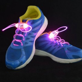 1 Pair LED Flashing Luminous Round Shoelaces Pink
