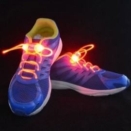 1 Pair LED Flashing Luminous Round Shoelaces Red