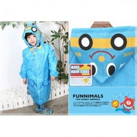 Korean Cute Funny Cartoon Style Car Pattern Children Rain Gear Raincoat Rainwear Blue