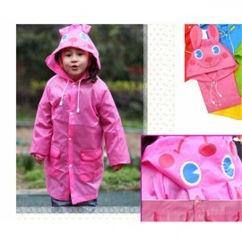 Korean Cute Funny Cartoon Style Rabbit Pattern Children Rain Gear Raincoat Rainwear Pink