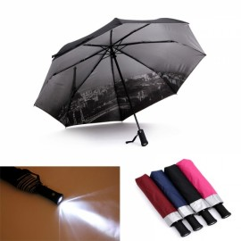 Creative LED Light 3-Section Folding Flashlight Umbrella Black