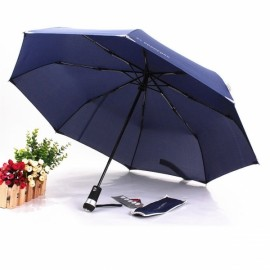 LED Light Automatic Dual Folding Sunshade Umbrella Blue