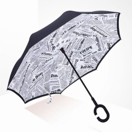 Creative C-Handle Reverse Colorful Umbrella Double Layers Upside Down Self-standing Car Rain Protection #16