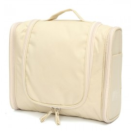 Multifunction Zipper Toiletry Travel Organizer Wash Storage Bags Makeup Cosmetic Bag Case Beige