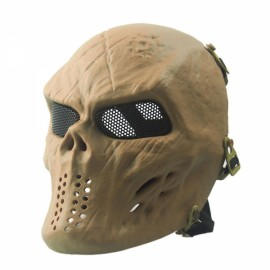 Airsoft Paintball Full Face Skull Skeleton CS Mask Tactical Military Halloween Tan #07