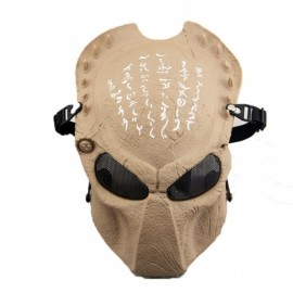 Full Face Wire Mesh Predator AVP Airsoft Protection Paintball Mask - Khaki
