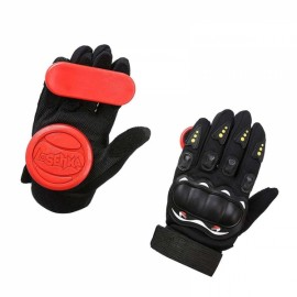 LOSENKA Long Board Slider Speed Brake Gloves Highway Skateboard Double Slide Block - Red
