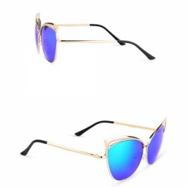 Senlan 5808 Fashionable Anti-UV Unisex Sunglasses Golden Frame & Blue Lens