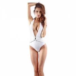 Charming Sexy Deep V-Neck Halter Women One-piece Monokini Bikini Swimsuit Swimwear White L/XL