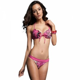 Sweet Damask Printing Front Tie Halter Triangle Cups Women Two-piece Bikini Swimsuit Swimwear Suit Rosy L
