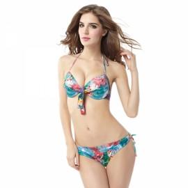 Watercolor Style Floral Pattern Halter Women Two-piece Bikini Swimsuit Swimwear Suit L