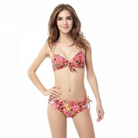 Vigorous Floral Pattern Halter Women Two-piece Bikini Swimsuit Swimwear Suit M