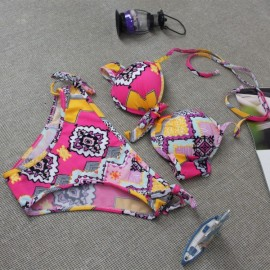 Vintage Geo Print Halter Triangle Bra Top & Bottom Bikini Swimsuit Two-piece Set M