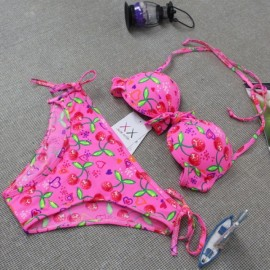 00505381 Sexy Fruit Printing Pattern Bowknot Halterneck Back-tie Style Two-piece Bikini Swimsuit Pink XXL